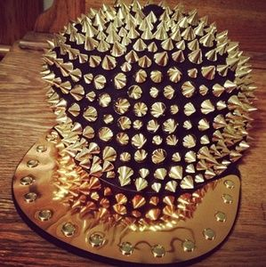 Accessories - Gold Spiked Snap Back Hat